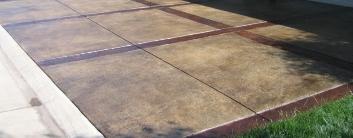 Integral Color Concrete Patio - Textured Borders